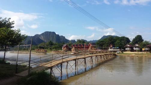 Signature bamboo bridge in Vang Vieng