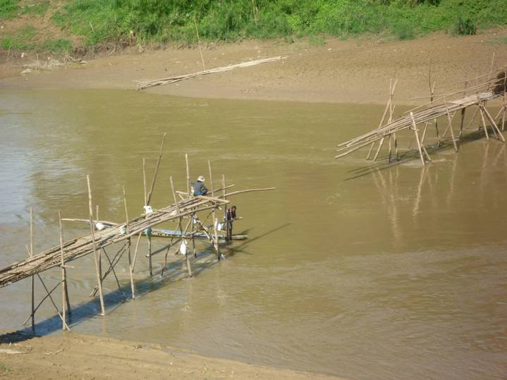 Bamboo bridge, not completed yet. The bridge is only built during the dry season.