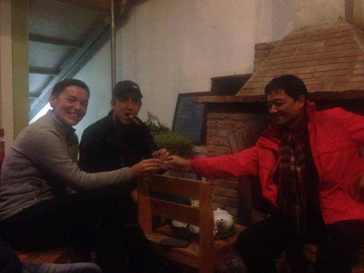 Enjoying Soplica vodka with the Vietnamese hostel owner.