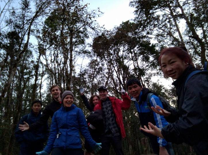 The beginning of the hike. We're still so cheerful and full of energy haha